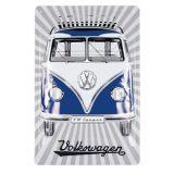 VW T1 Bus Metal Sign - Samba Stripes/Blue