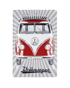VW T1 Bus Metal Sign - Samba Stripes/Red