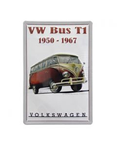 VW T1 Bus Red Metal Sign - 1950-1967