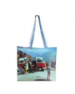 VW T1 Bus PVC Shopper Bag with Zip - Scenery