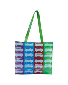 VW T1 Bus PVC Shopper Bag with Zip - Multi Colour