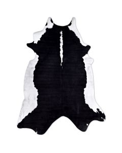 Faux Cowhide Rug Black & White Solid Belly Print