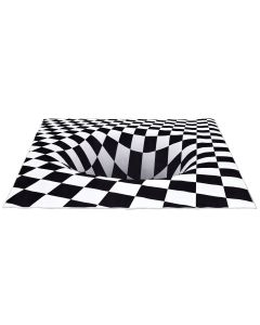 Checkered Hole Printed Optical Rug