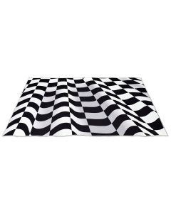 Checkered Ripple Printed Optical Rug