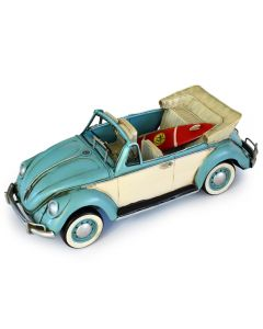 Volkswagen (VW) Beetle with Surfboard - Blue 34cm