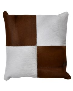 4 Panel Cowhide Cushion Tan Ivory Check (with insert)