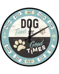 Nostalgic Art Blue Dog Times Wall Clock 30cm