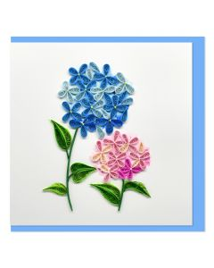 Quilled Card Hydrangeas Pink and Blue