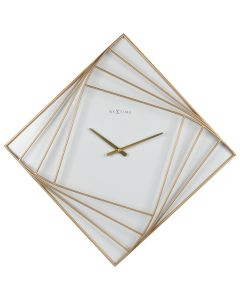 NeXtime Turning Square Wall Clock White and Gold 85 x 85cm