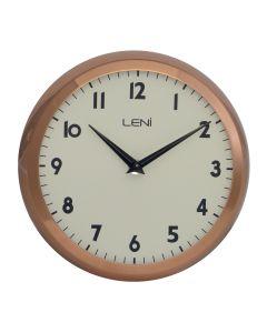 Leni Metal School Wall Clock 23cm - Copper