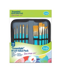 Essentials Craft Paint Brush Set of 10 with Storage Case