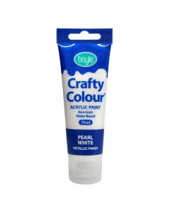 Crafty Colour Acrylic Paint 75ml Pearl White